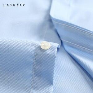 Image 5 - U & כריש Mens בסיסי שמלת חולצה רשמית עסקים אריג בד טיפול קל ארוך שרוול לבן חולצות חולצות חברתיות עבודה במשרד ללבוש