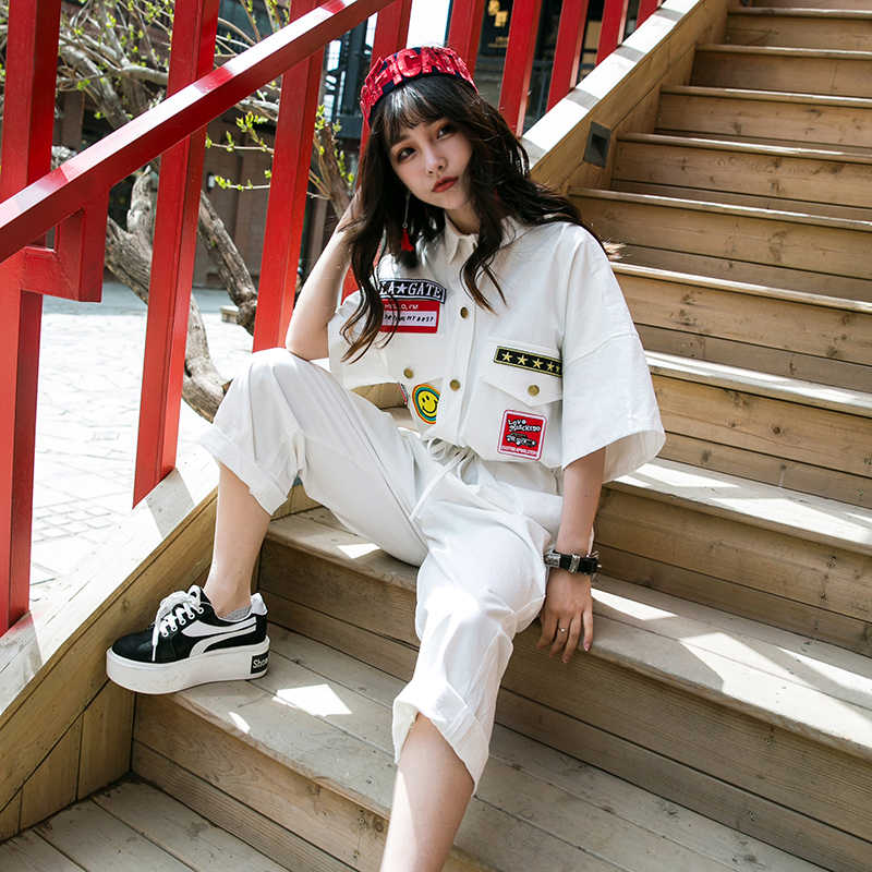 jumpsuits for women 2018 Summer Fashion Street style Badge Short sleeve Jumpsuit Loose Plus size Casual Overalls Female LP194