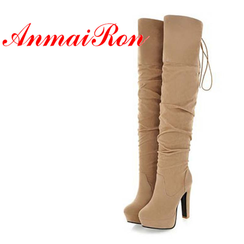 ANMAIRON New Fashion Style Big Size34-43 High Over-the-Knee Boots for Women Flock Tassel Ladies Long Boots Sexy Winter Shoes anmairon shallow leisure striped sandals women flats shoes new big size34 43 pu free shipping fashion hot sale platform sandals