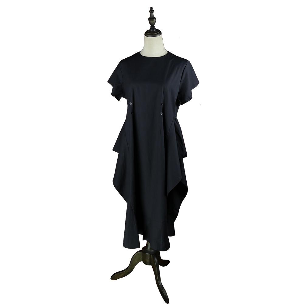 Steampunk Retro Black Lotus Leaf Sleeve Dress Summer New Round Neck Stereo Short Sleeve Belt Splicing Irregular Lace Dress Femal