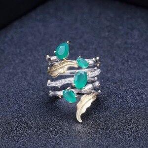 Image 4 - GEMS בלט 2.26Ct טבעי ירוק אגת חן אצבע טבעות 925 סטרלינג רסיס אופנה להקת טבעת לנשים מתנות