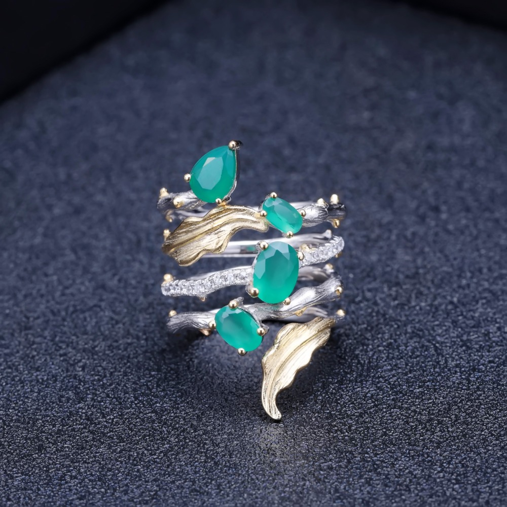 Image 3 - GEMS BALLET 2.26Ct Natural Green Agate Gemstone Finger Rings 925  Sterling Sliver Fashion Band Ring For Women Gift Fine JewelryRings