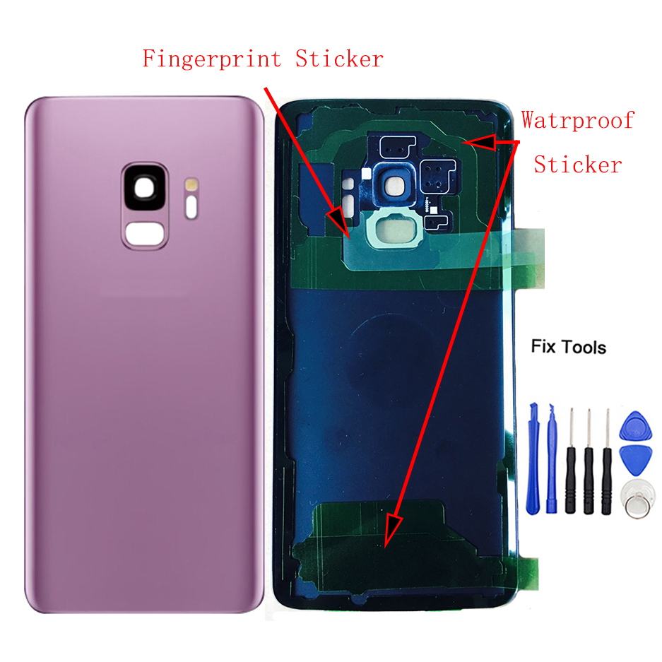 LOVAIN 1Pcs For Samsung Galaxy S9 G960 G960F S9 Plus G965 G965F Back Battery Cover Glass Housing Case+Camera Frame Lens+Tools