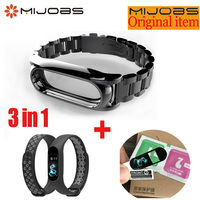 Mijobs Metal Strap For Xiaomi Mi Band 2 Strap Stainless Steel Bracelet Wristbands Screwless Metal Steel