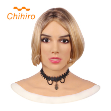 Soft Silicone Realistic Female Head Mask Betris Angel Face with Neck Fake Breast Forms for Crossdresser Transgender Shemale Doll
