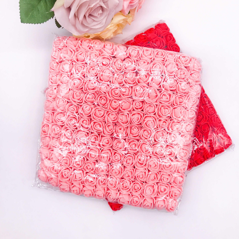 144Pcs 2Cm Mini Foam Roseดอกไม้ประดิษฐ์Bouquet Multicolor Roseดอกไม้งานแต่งงานตกแต่งScrapbooking Fake Roseดอกไม้