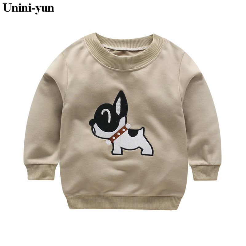 Unini-yunNew Bobo Choses Dog print Animal Sweatshirts T-shirt Autumn Winter 2017 Kids Long Sleeve Baby Boys Girls brown Tops Tee