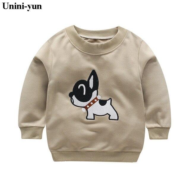 Unini-yunnew Bobo choses с принтом собаки животных кофты футболка осень-зима 2017 детская одежда с длинными рукавами для маленьких мальчиков Обувь для девочек коричневый футболки