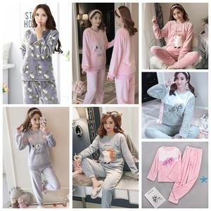 Image 5 - Womens Pajamas Autumn and Winter Pajamas set Women Long Sleeve Sleepwear Flannel Warm Lovely Top + Pants Pajamas Female Pyjama