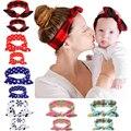 2 Unids/set 2016 Nueva mamá baby girl vendas de Punto de algodón de estilo Bohemio hairband Del Bowknot accesorios para el cabello