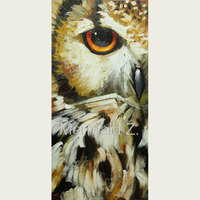 100% Handmade Abstract Grey And Animals owl Oil Painting On Canvas owl Portrait Head Oil Painting Art Living room decor