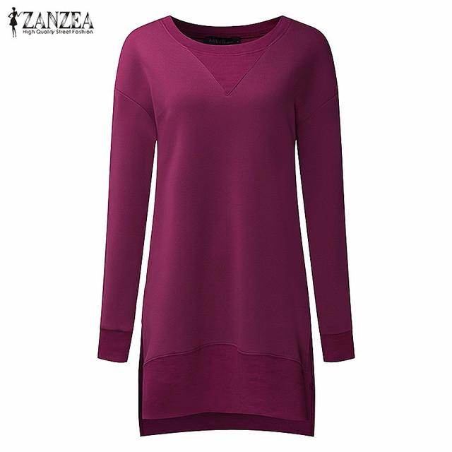 Zanzea moda feminina hoodies camisolas de lã 2017 manga longa o pescoço irregular dividir sólida casuais solta fêmea pullovers tops