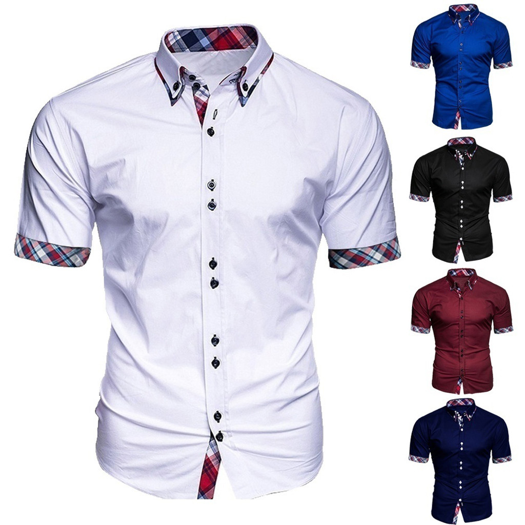 2019 New Arrivals Slim Fit Male Shirt Fashion Men's Business Patchwork Button Casual Plaid Short Sleeve Top Blouse Comfortable