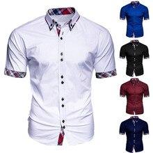 Новое поступление, приталенная Мужская рубашка, модная мужская деловая Повседневная клетчатая рубашка на пуговицах с коротким рукавом, удобная блуза