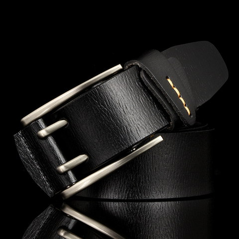 Fashion British Style Double Pin Buckle High Quality Genuine Leather Belt For Men Casual Jeans Waistbands Strap Free Shipping Lahore