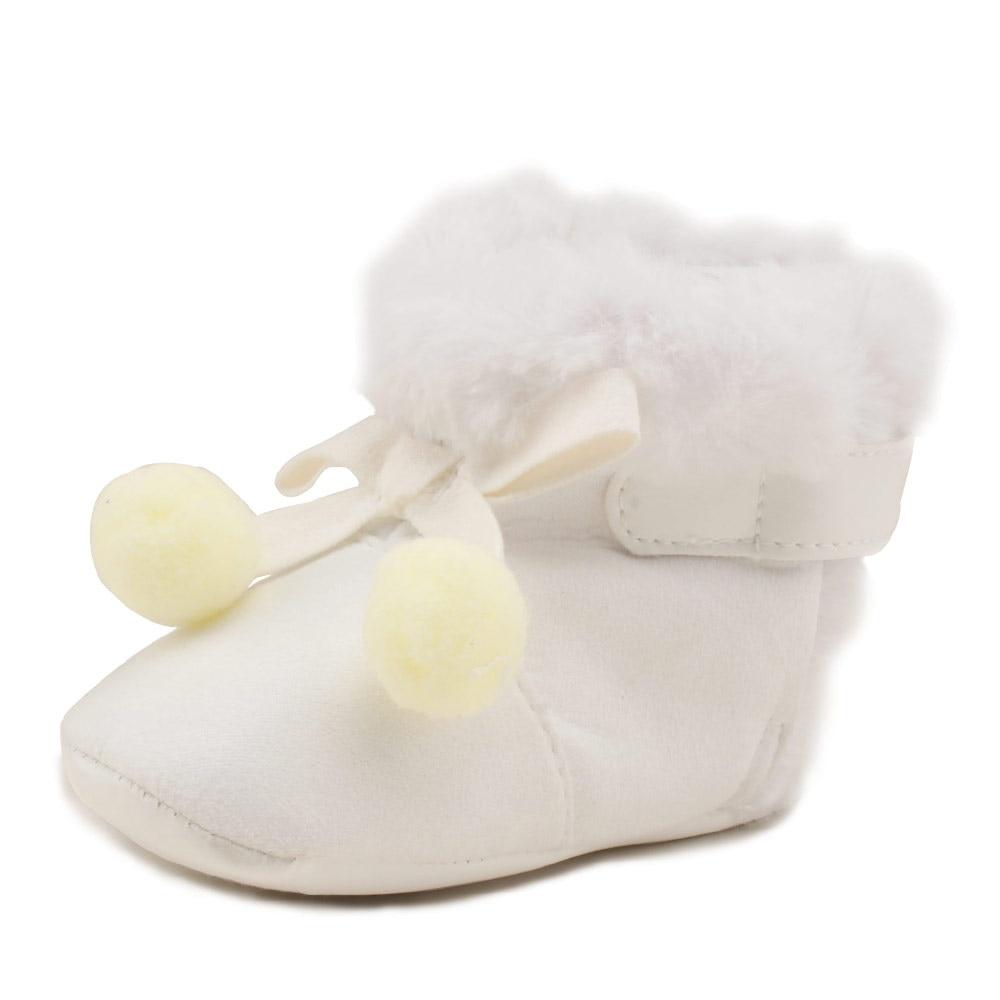 Pelúcia Hook & Loop Botas Slip-on Pure White Fuzz Botas Macias Sole Anti-slip Mornas do Inverno Do Bebê sapatos de bebê Por Atacado