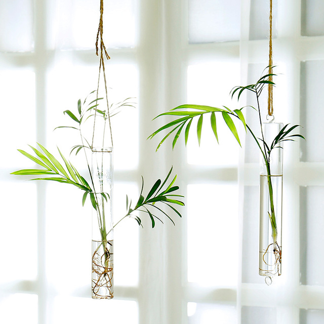 Hanging Glass Vase Water Flower Pots Glass Hanging Vase Tube