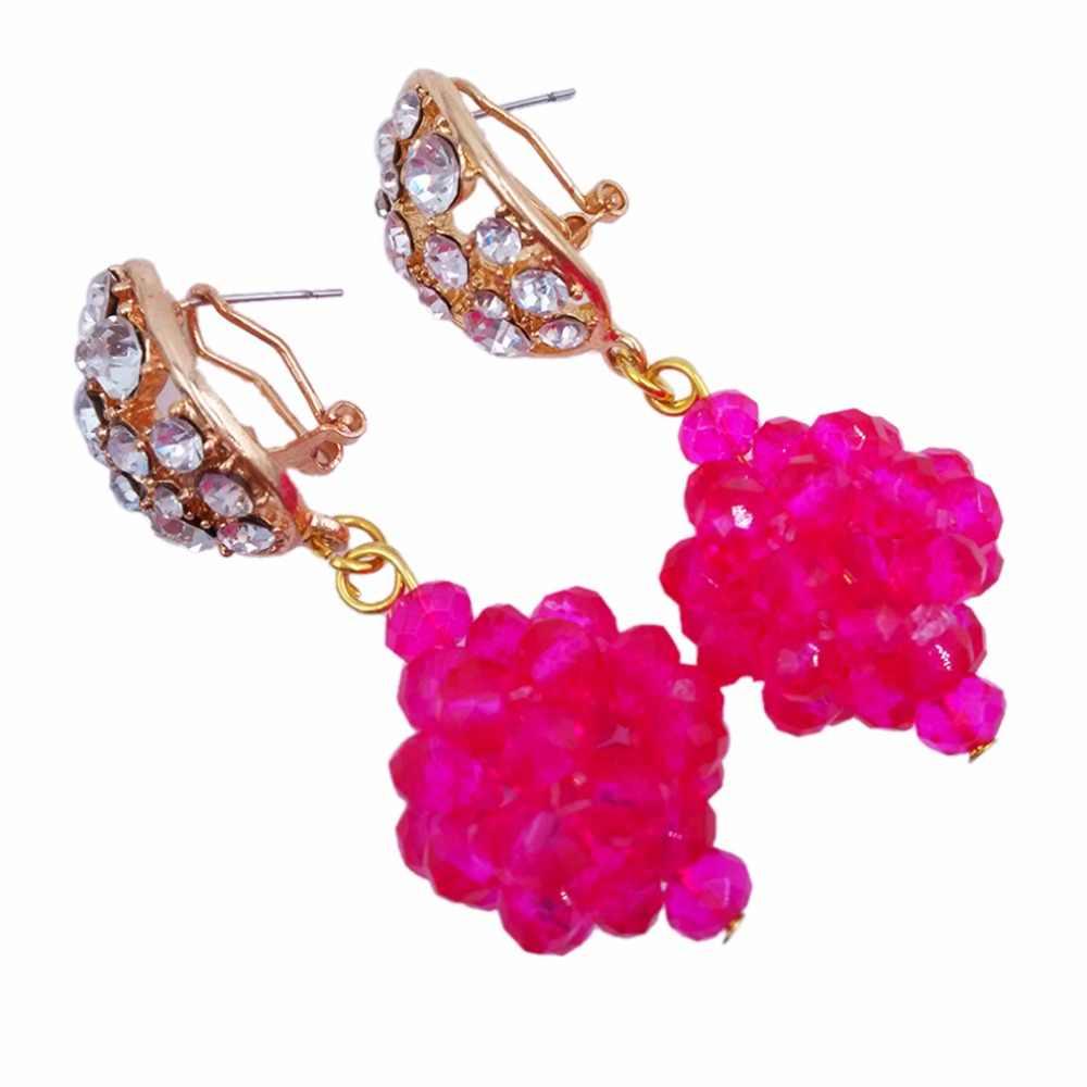 הוורודה פוקסיה אופנה זהב שרשרת שמירה על גדילים רב 5JZ06 גביש סט תכשיטי חרוזים אפריקאים כלה ניגרית