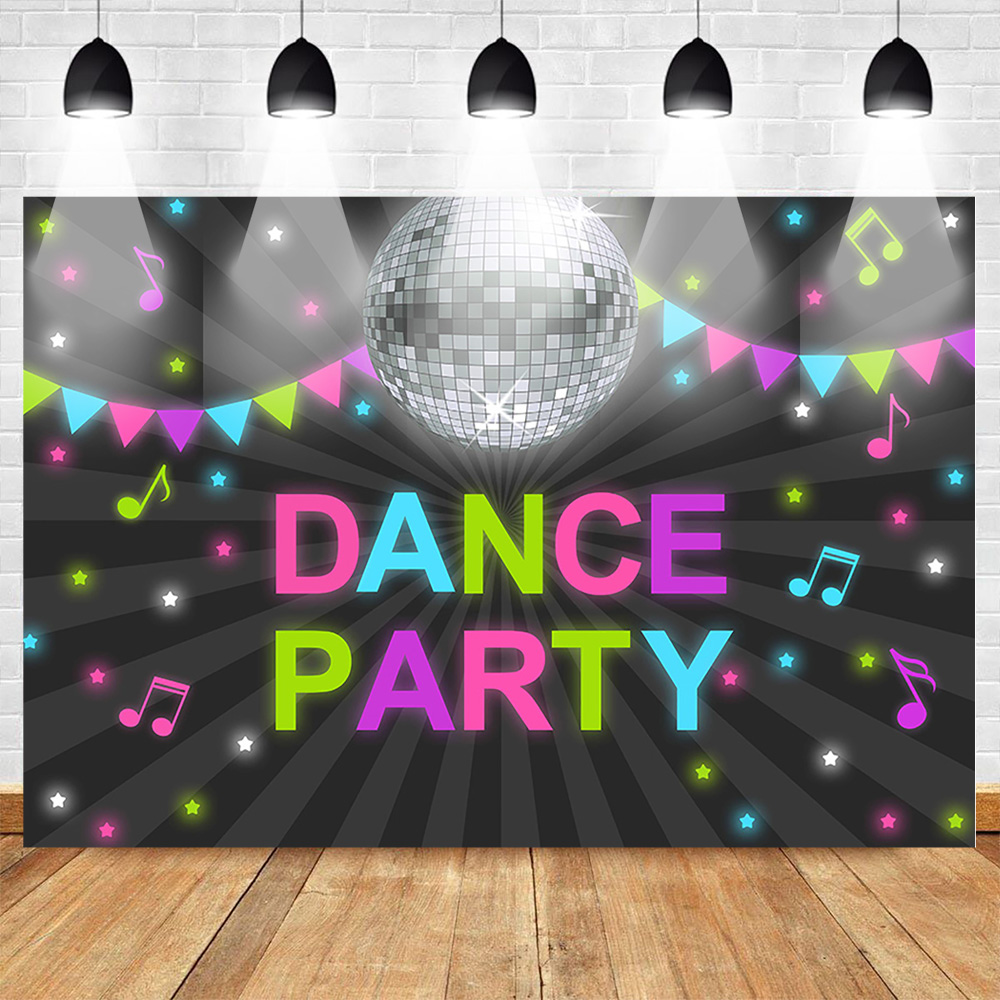 Dance Theme Party Backdrop for Photography Birthday Friends Party Photo Background Neon Music Stripe Shiny Stars Custom Backdrop image