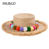 Summer Child Raffia Sun Flat Straw Hat Visor Panama Hat With Colorful Tassel Balls For Boys