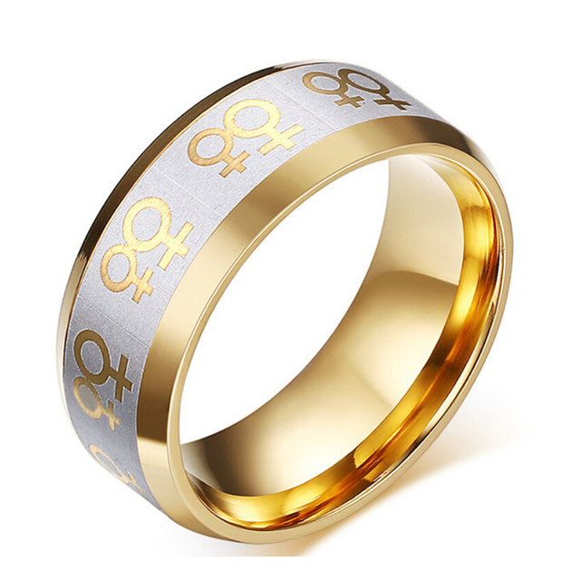 gay pride ring for women lesbian wedding jewelry double female symbol - Lesbian Wedding Rings