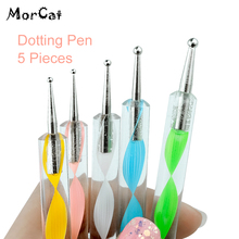 MorCat Dotting Pen Nail Tool Art Set For UV Gel 5 pcs /set Marbleizing Painting DIY Dot