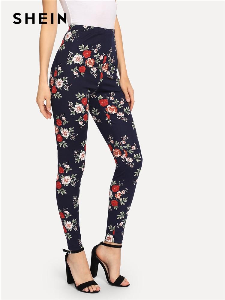 SHEIN Navy Highstreet Elegant Flower Print Skinny   Leggings   2018 Autumn Casual Women Pants And Trousers