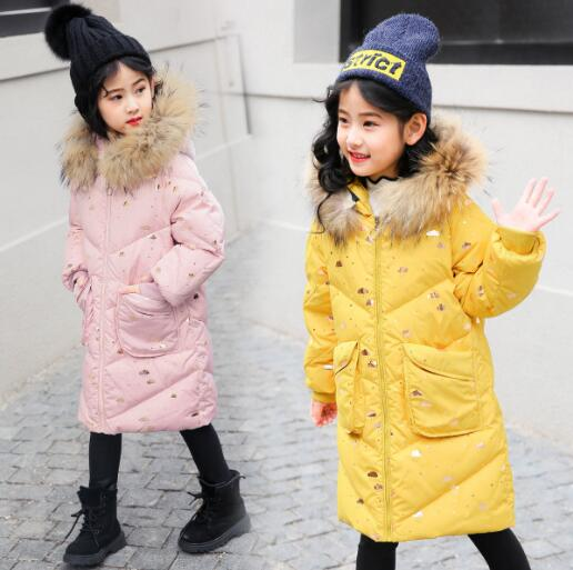 Girls Duck Down Jackets Cold Winter Children Natural Fur Long Coats Kids Fashion Parkas Girl Hooded Thick Warm Outerwear fashion long parka kids long parkas for girls fur hooded coat winter warm down jacket children outerwear infants thick overcoat