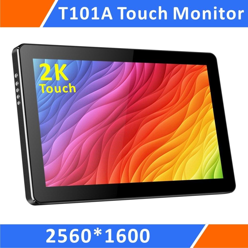 10.1 pouce Mini 2 k Portable Écran Tactile Moniteur Avec 1440 p USB-C/Entrée HDMI, USB Alimenté, pour PS3 PS4 Xbox Mini-PC (T101A)