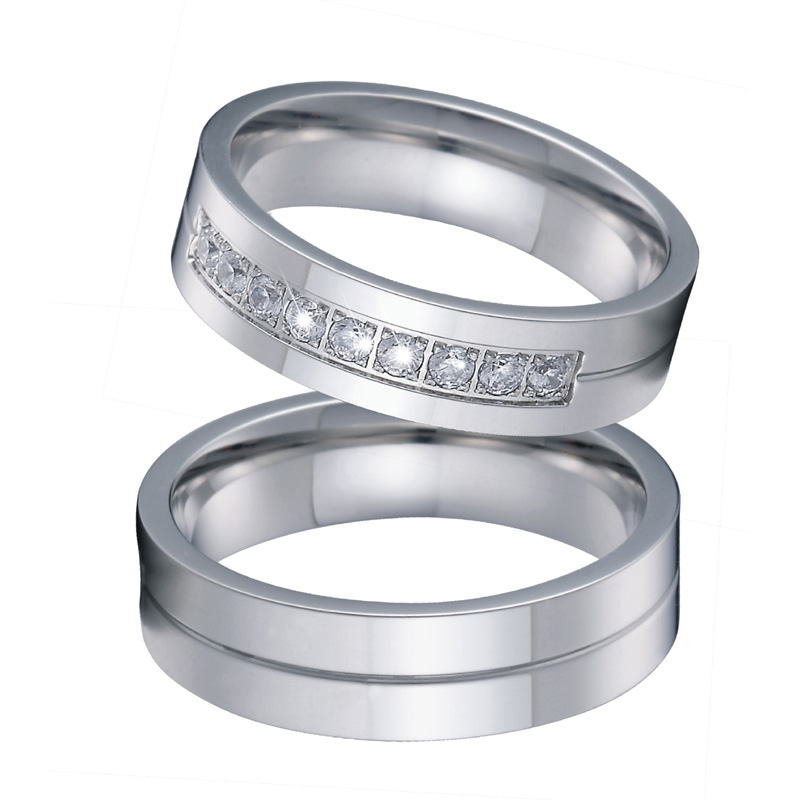 цена на Men Wedding Band Ring Silver Color No Fade Alliances anillos anel bague bijoux femme Couple Engagement Rings for Women