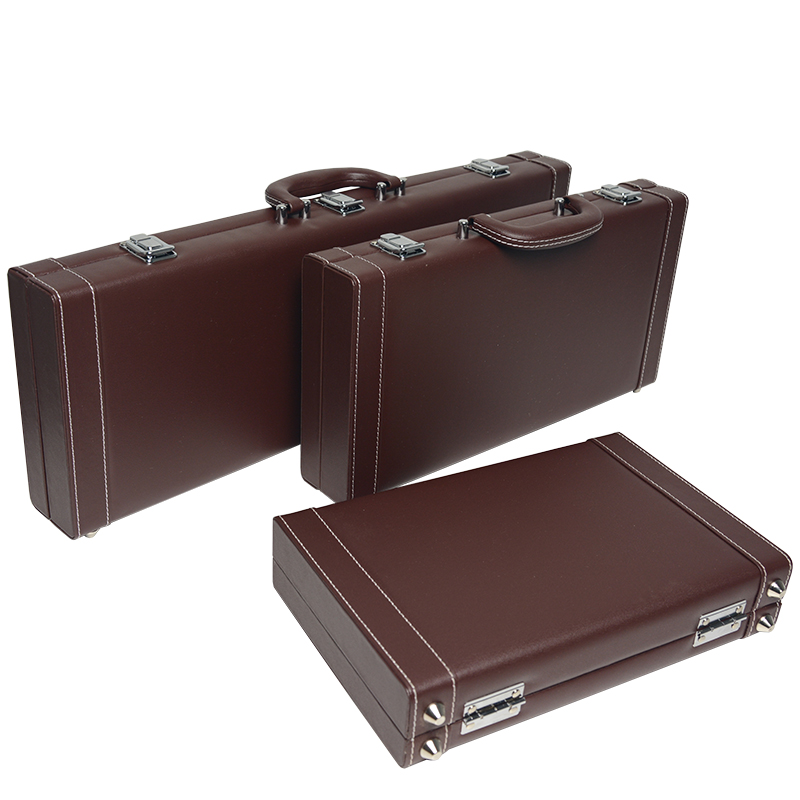 Professional good quality  luxury portable black leather counter box 500 code chips yard wood box chip poker carrying cases bag