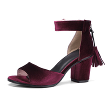 YANSHENGXIN Summer Sandals Women Peep Toe Ankle Wrap Suede Leather Shoes Womens Tassel Chunky Heels High 5CM