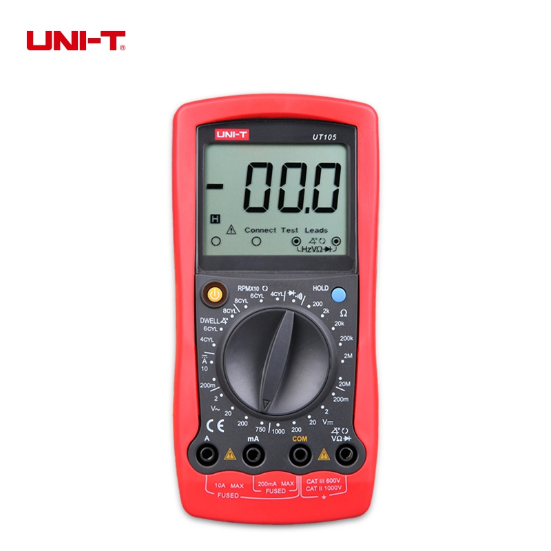 UNI-T UT105 Digital Automotive Multi-Purpose Meters DC Ammeter AC & DC Voltmeter Multimeter Resistance Tester цена
