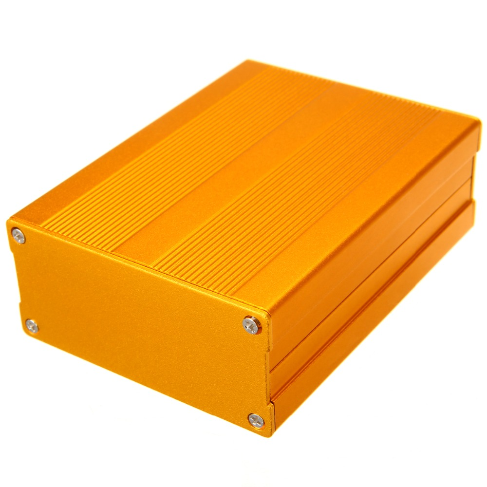 Gold Extruded Aluminum Enclosure Electronic Project Amplifier Circuit Board Box Case 100x76x35mm black electronic project case aluminum circuit board enclosure box 150x105x55mm with screws