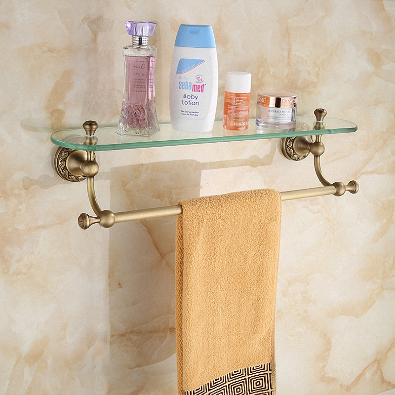 Bathroom Accessories Antique Brass Collection Glass Shelf with Towel Bar Luxury European London Style for Home