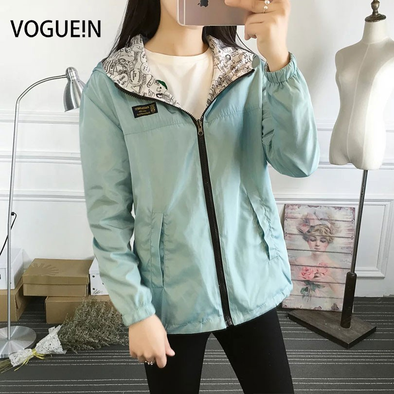 VOGUE!N New Womens Ladies Casual Hooded Coat Two-In-One Reversible   Basic     Jacket   Coat Thin Outerwear 4 Colors 3 Plus Sizes