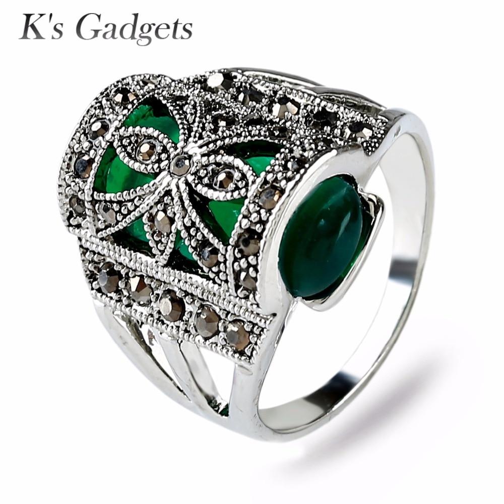 Antique Black Austrian Crystal Rhinestone Vintage Ring Silver Fashion Flowers Green Stone Rings For Women