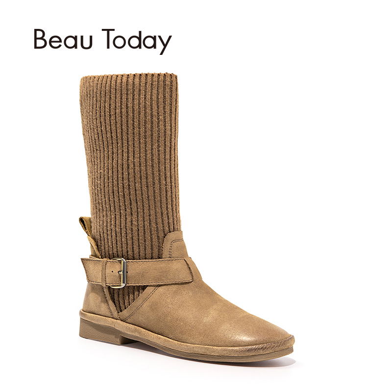 BeauToday Mid-Calf Boots Women Top Quality Genuine Leather Knitted Fabric Brand Boot Lady Shoes Handmade 02003 double buckle cross straps mid calf boots