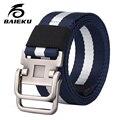 Baieku Hombres cinturón de nylon, correa de la manera del ocio del bromista de los jóvenes estudiantes lienzo cinturón de hebilla de Doble bucle