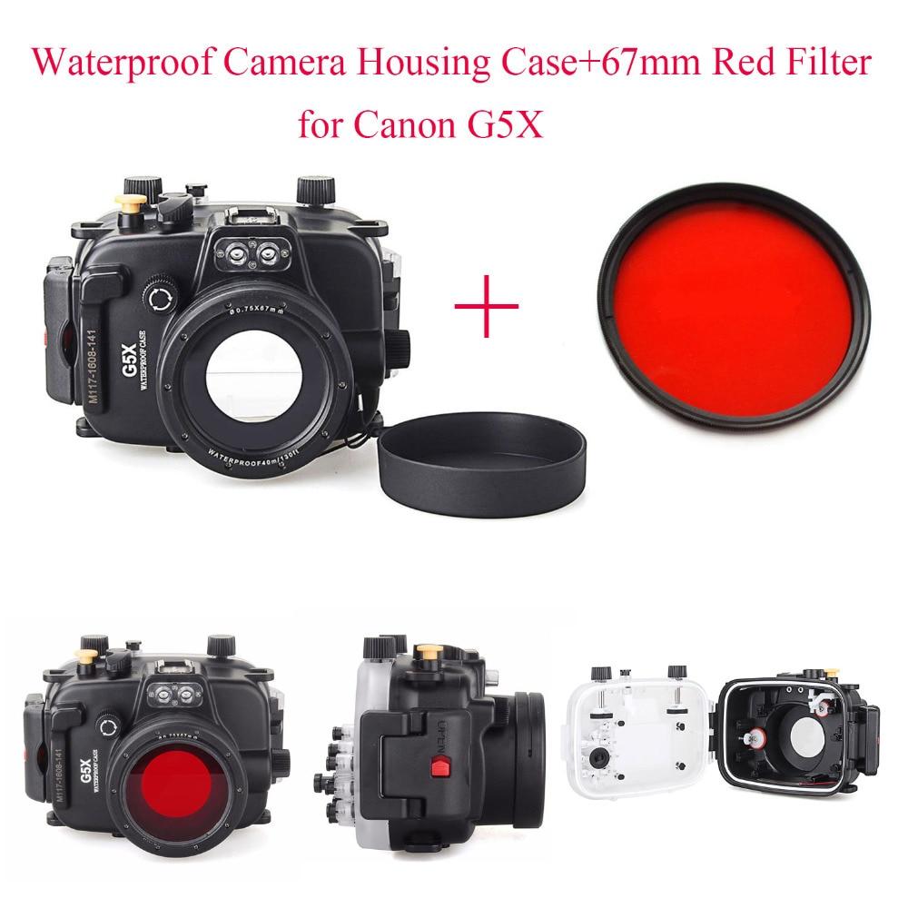 Meikon 40m Underwater Waterproof Camera Housing Case for Canon G5X 67mm Red Filter Waterproof Camera Housing