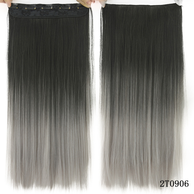 Soowee 60cm Long Straight Women Clip in Hair Extensions Black Brown High Tempreture Synthetic Hair Piece 3