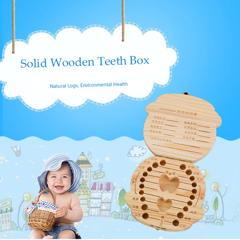 Hot 1PC Baby Milk Teeth Box German/Korean Childrens Wooden Tooth Box Infant Tooth Organizer For Kids Creative Gifts Storage Case