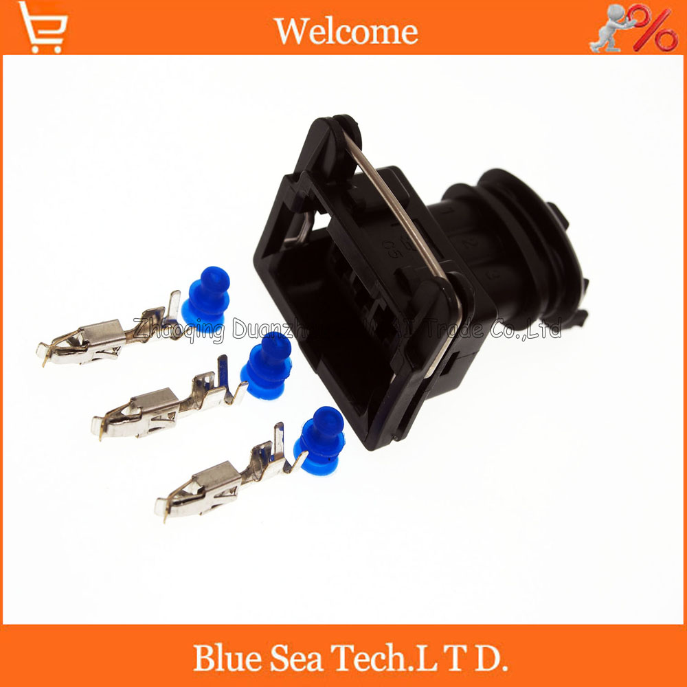 3 Pin 3.5mm female fuel spray nozzle plug/oil nozzle plug/Throttle plug connector for Bosch plug connector 2pin auto fuel spray nozzle oil atomizer plug with pin rubber seal car diesel common rail injector plug for delphi connector