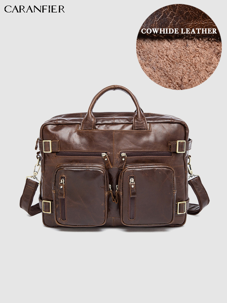 CARANFIER Mens Briefcases Genuine Leather Document Laptop Bags Messenger Shoulder Bags Office Business Multi-function Handbags