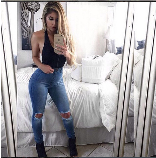 BKLD Slim Jeans For Women Skinny High Waist Jeans Woman Blue Denim Pencil Pants Fashion 2019 New Women Hole Jeans Pants