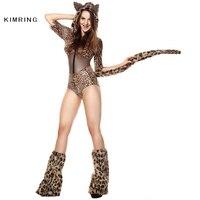 Kimring Sexy Animal Halloween Costume Adult Leopard Bodysuit Clubwear Fantasy Fancy Costumes
