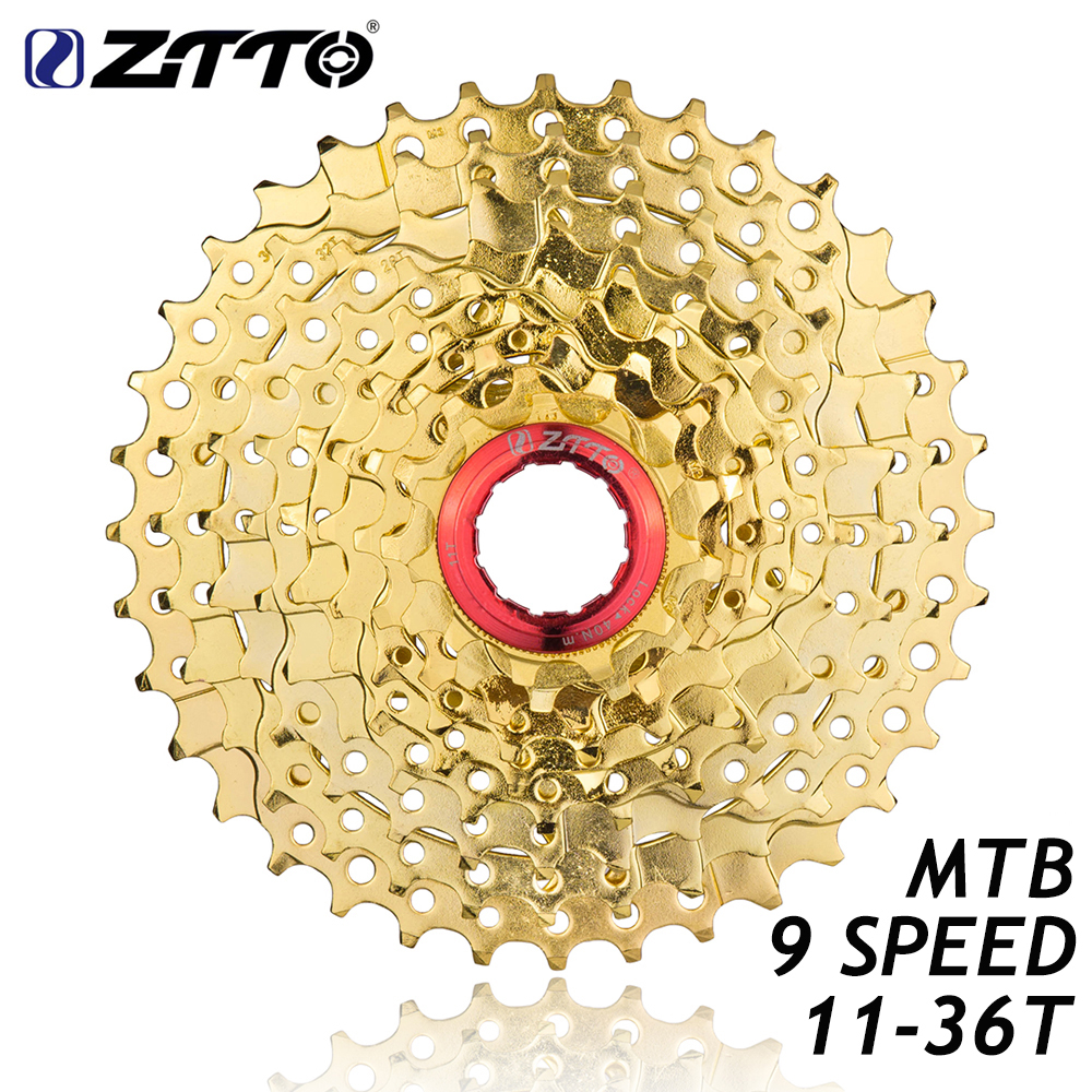 ZTTO MTB Mountain Bike Bicycle Parts 9s 27s 9 Speed 11-36T Gold Golden Freewheel Cassette K7 11V for M370 M430 M4000 M590 M3000