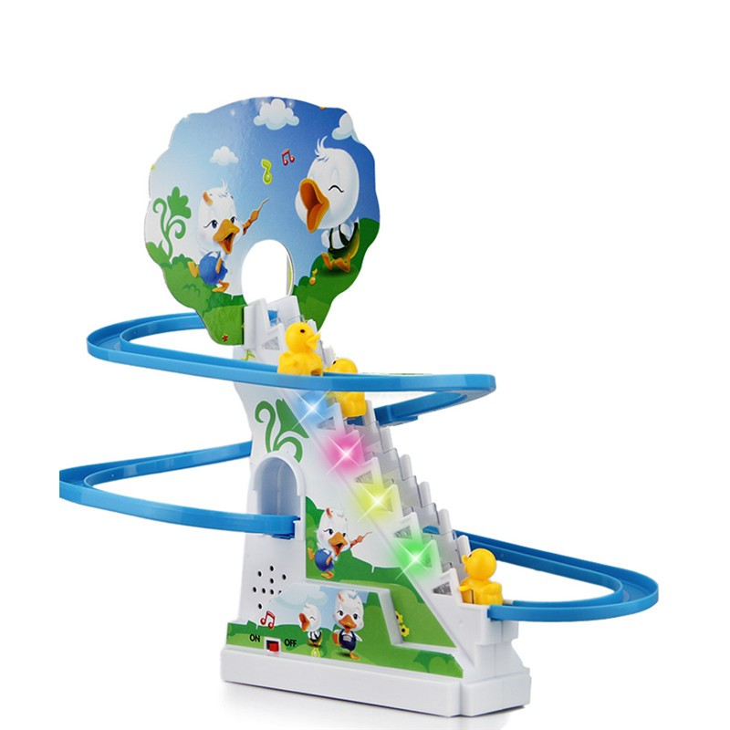New Interesting Electric Rotary Slide Automatic Stairs With Music Light Kids Educational Toys Christmas Gift Super Fun Duck