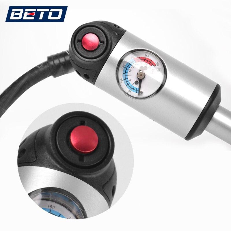 BETO Vélo Pompes pour Pneu/Tube & Plug/Choc/Fourche, Schrader et Presta Vannes Adaptateur Gonfleur, Mini Main Pompe À Vélo avec Manomètre Tuyau