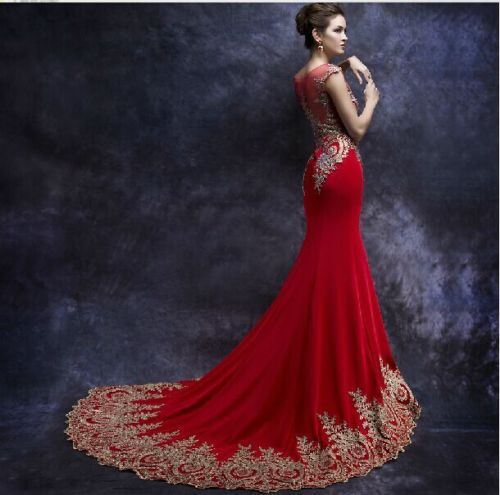 Hot red,white,black mermaid wedding dress,prom dress,evening dress ...